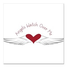 """Angels Watch Square Car Magnet 3"""" x 3"""""""