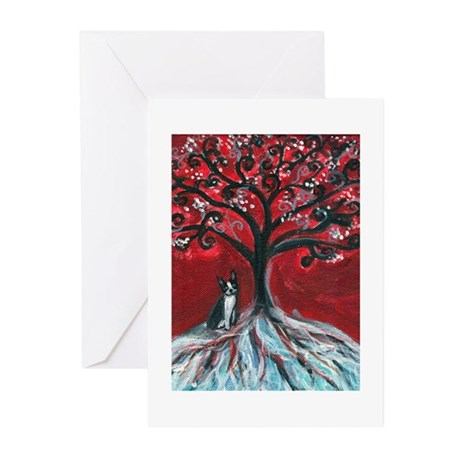 Boston Terrier tree love Greeting Cards (Pk of 10)