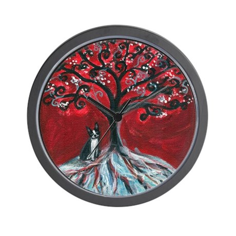 Boston Terrier tree love Wall Clock