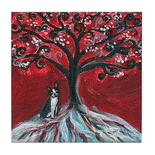 Boston Terrier tree love Tile Coaster