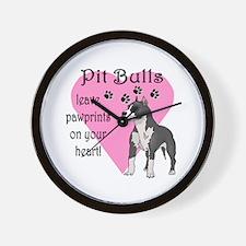 Pit Bulls Pawprints Wall Clock