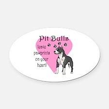 Pit Bulls Pawprints Oval Car Magnet