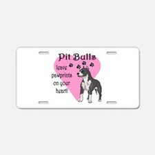 Pit Bulls Pawprints Aluminum License Plate