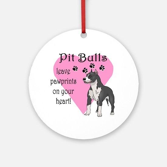 Pit Bulls Pawprints Ornament (Round)