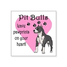 "Pit Bulls Pawprints Square Sticker 3"" x 3"""