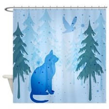 Cool Cat Blue Shower Curtain