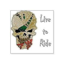 """LIVE TO RIDE SKULL Square Sticker 3"""" x 3"""""""