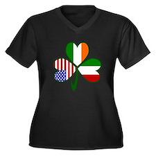 Shamrock of Italy Women's Plus Size V-Neck Dark T-