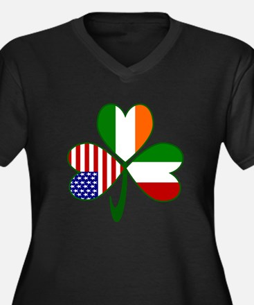 Shamrock of Italy Women's Plus Size V-Neck Dark T-