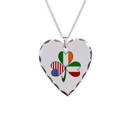 Shamrock of Italy Necklace Heart Charm