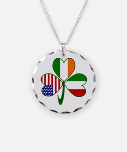 Shamrock of Italy Necklace Circle Charm
