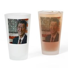 Ronald Reagan With Flag Drinking Glass