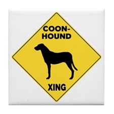 Coonhound Crossing Sign Tile Coaster