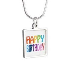 happy birthday - happy Silver Square Necklace