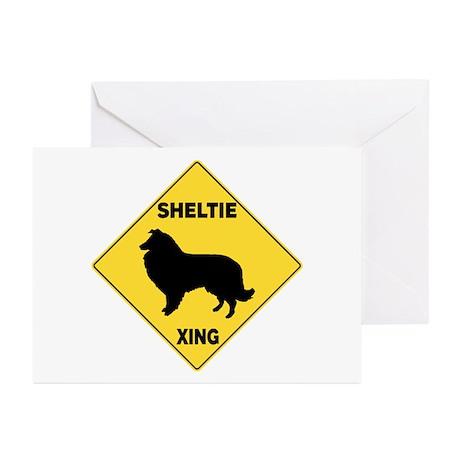 Shetland Sheepdog Crossing Sign Greeting Cards (Pk
