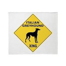 Italian Greyhound Crossing Sign Throw Blanket