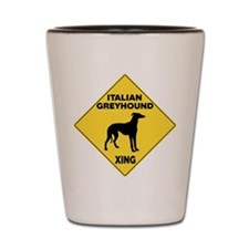 Italian Greyhound Crossing Sign Shot Glass