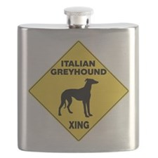 Italian Greyhound Crossing Sign Flask