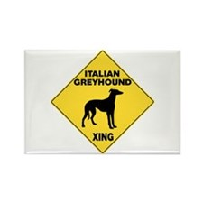 Italian Greyhound Crossing Sign Rectangle Magnet