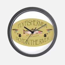 Fly Fishermen Do It In The River Wall Clock