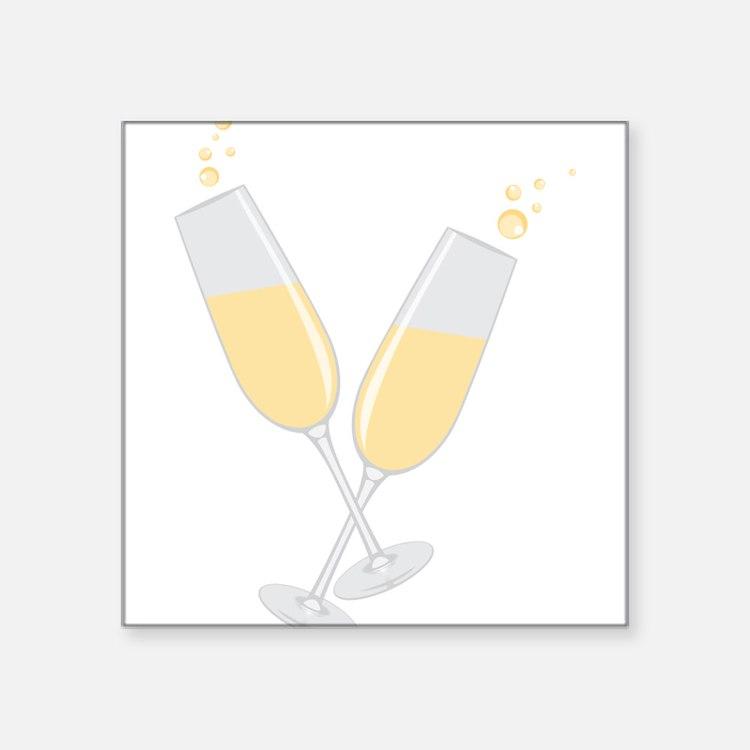 """Champagne Square Sticker 3"""" x 3"""""""