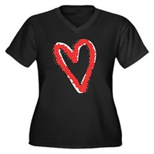 Valentine Heart Women's Plus Size V-Neck Dark T-Sh