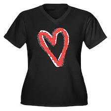 Valentine Heart Women's Plus Size V-Neck Dark T-Sh