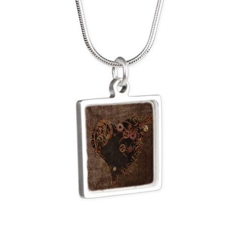 Steampunk Heart Silver Square Necklace