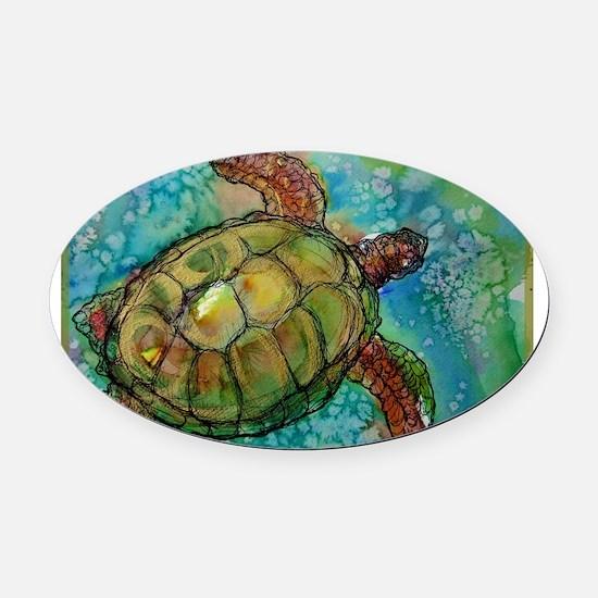 Sea Turtle Wildlife Art Oval Car Magnet