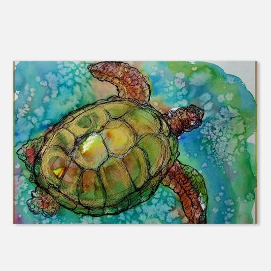 Sea turtle! Wildlife art! Postcards (Package of 8)