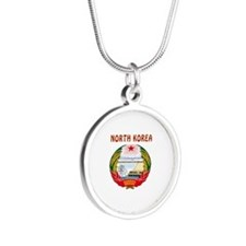 North Korea Coat of arms Silver Round Necklace