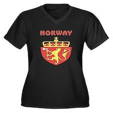 Norway Coat of arms Women's Plus Size V-Neck Dark
