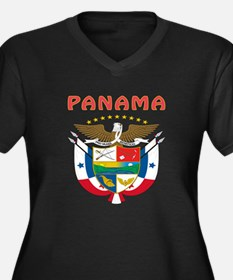Panama Coat of arms Women's Plus Size V-Neck Dark