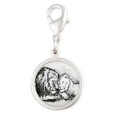 Lions! Wildlife art! Silver Round Charm