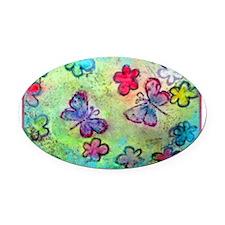 Butterflies! Spring! Art! Oval Car Magnet