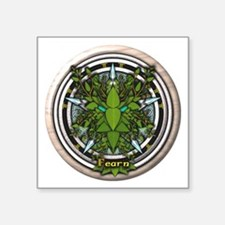 "Alder Celtic Greenman Pentacle Square Sticker 3"" x"