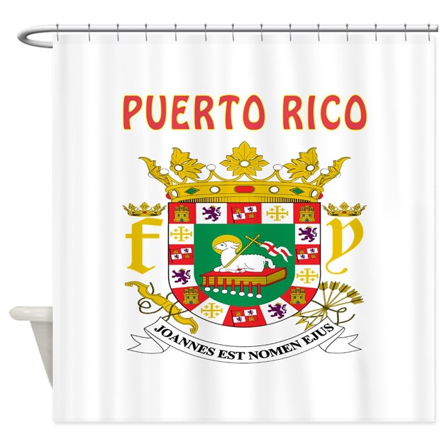 puerto rico coat of arms shower curtain by tshirts4countries