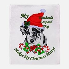 Catahoula Leopard Dog Christmas Throw Blanket