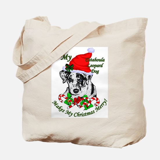 Catahoula Leopard Dog Christmas Tote Bag