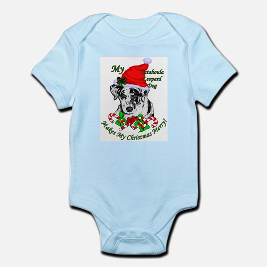 Catahoula Leopard Dog Christma Baby Light Bodysuit