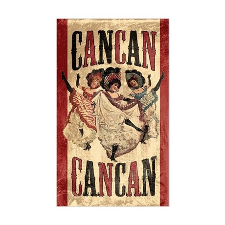 Vintage Cancan Poster Art Sticker (Rectangle)
