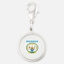 Rwanda Coat of arms Silver Round Charm