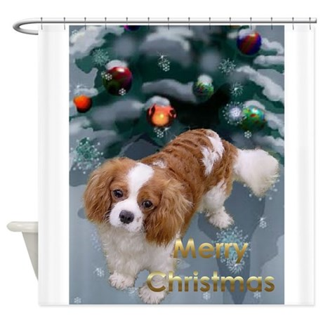 Cavalier King Charles Christmas Shower Curtain