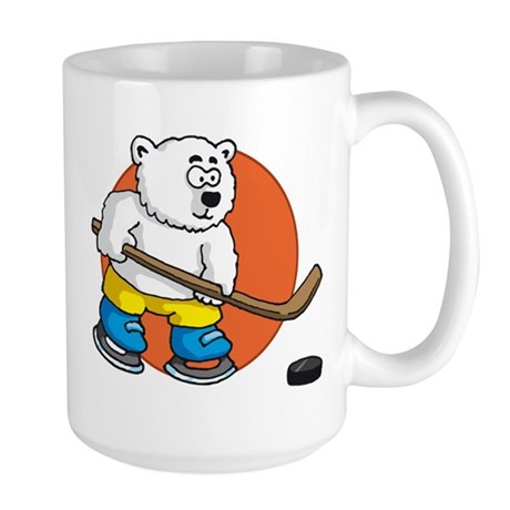 polar bear playing hockey comic cartoon Large Mug