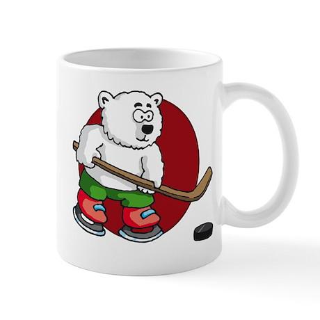 polar bear playing hockey comic cartoon Mug