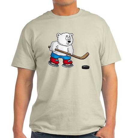 polar bear playing hockey comic cartoon Light T-Sh