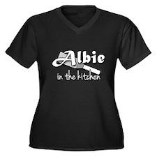 Albie In The Kitchen Women's Plus Size V-Neck Dark