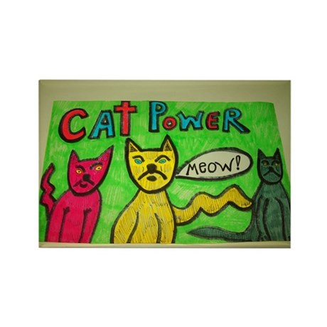 CAT POWER cartoon artwork design. Rectangle Magnet