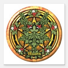 Hawthorn Celtic Greenman Pentacle Square Car Magne