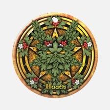 Hawthorn Celtic Greenman Pentacle Ornament (Round)